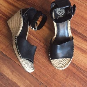 Vince Camuto  black leather wedge size 81/2